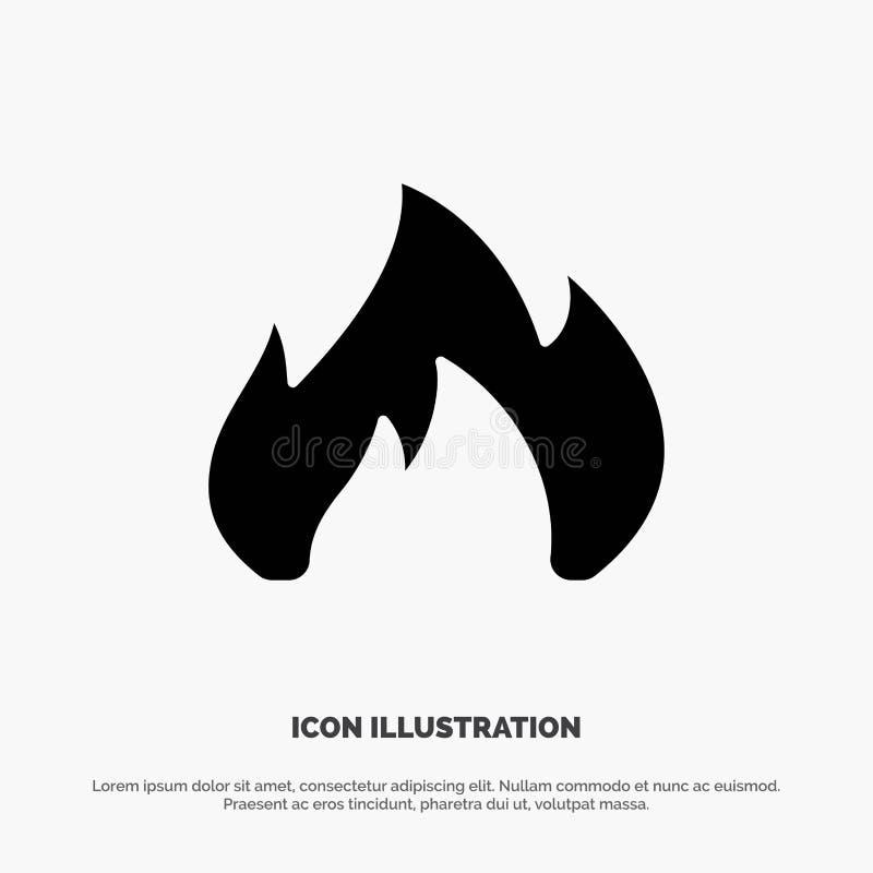 Ogień, ogrzewanie, graba, Iskrowy stały glif ikony wektor ilustracji