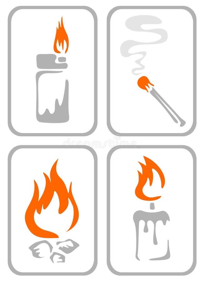 ogień ozdobni symboli ilustracji