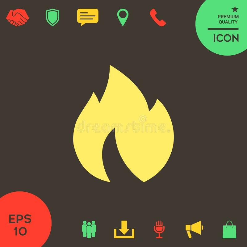 Ogień, płomień ikona royalty ilustracja