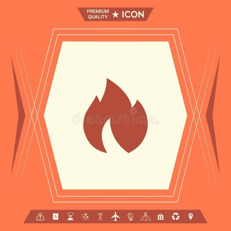 Ogień, płomień ikona ilustracja wektor
