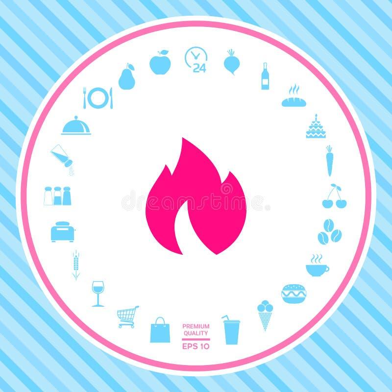 Ogień, płomień ikona ilustracji