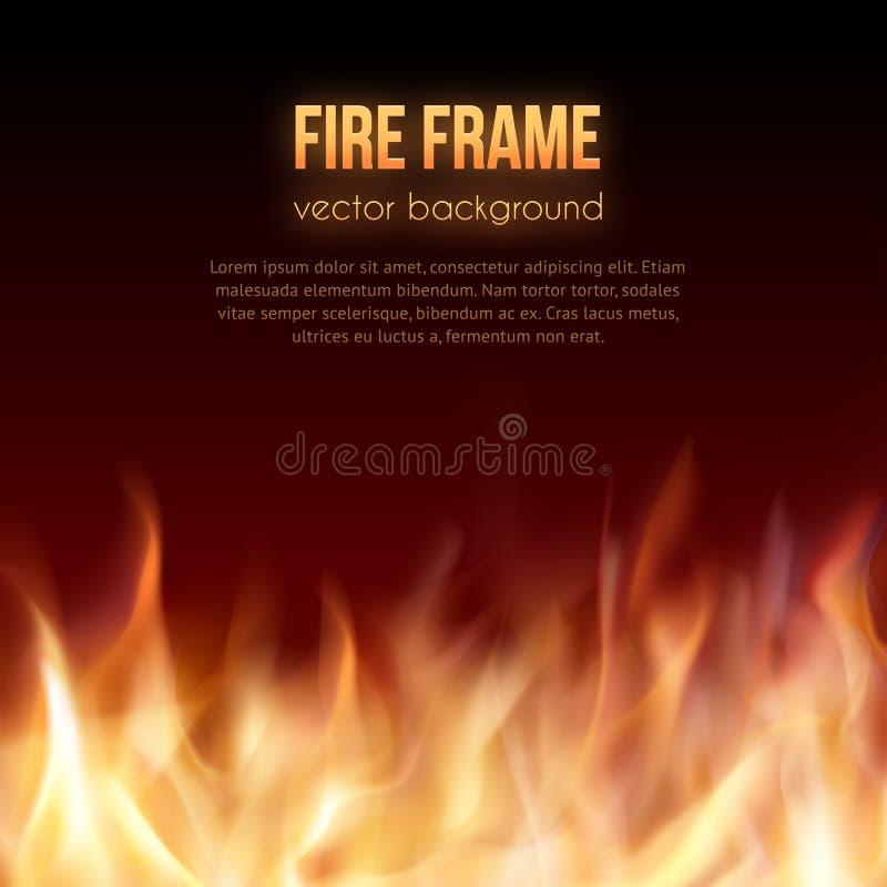 ogień płonąca rama Wektorowy Ognisty tło royalty ilustracja