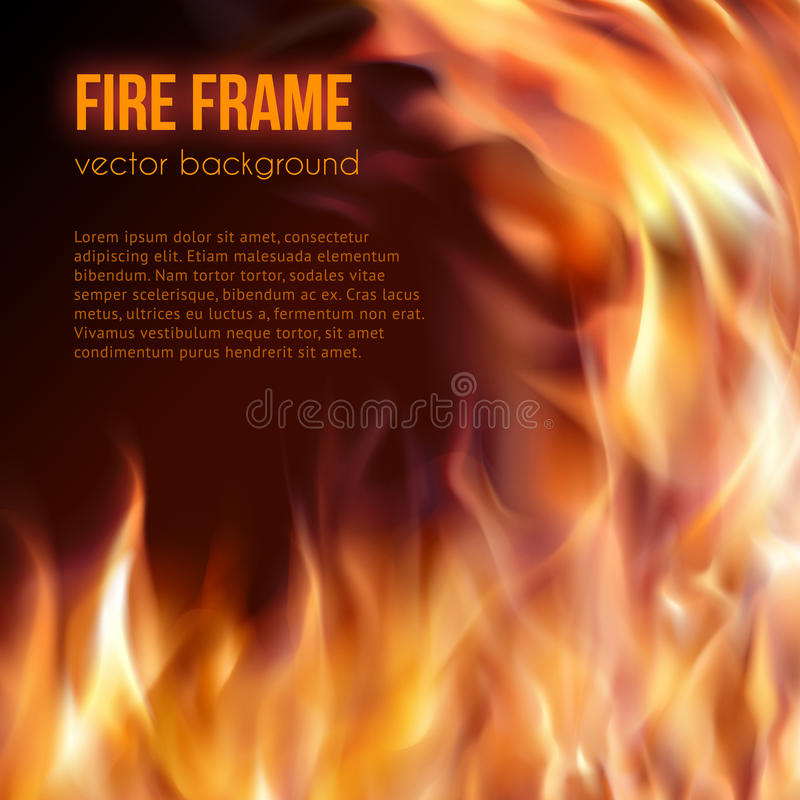 ogień płonąca rama Wektorowy Ognisty tło ilustracji