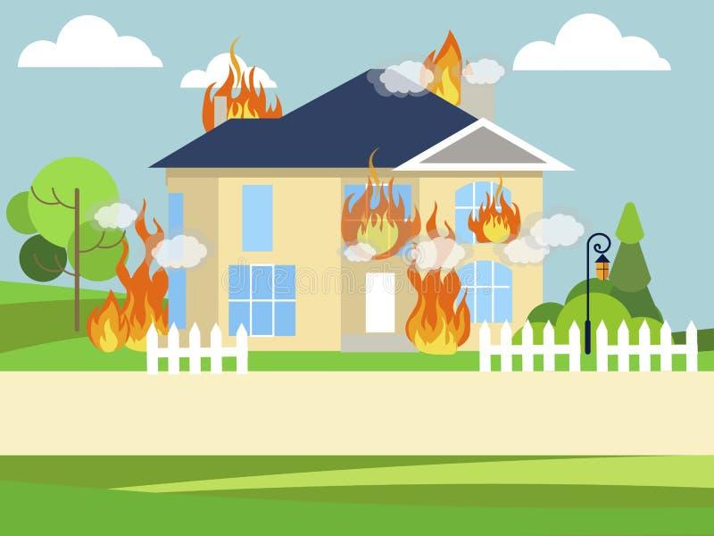 Ogień, płonący dwór, dom W minimalisty stylu Kresk?wki mieszkania wektor ilustracja wektor