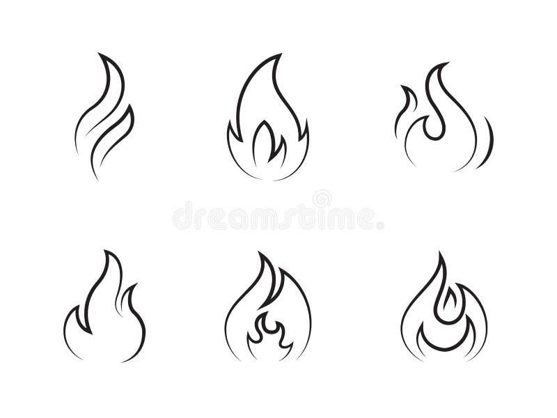 Ogień Płonie ikony royalty ilustracja