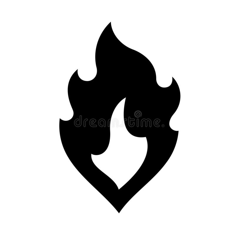 Ogień płonie, nowa czarna ikona wektoru ilustracja ilustracja wektor