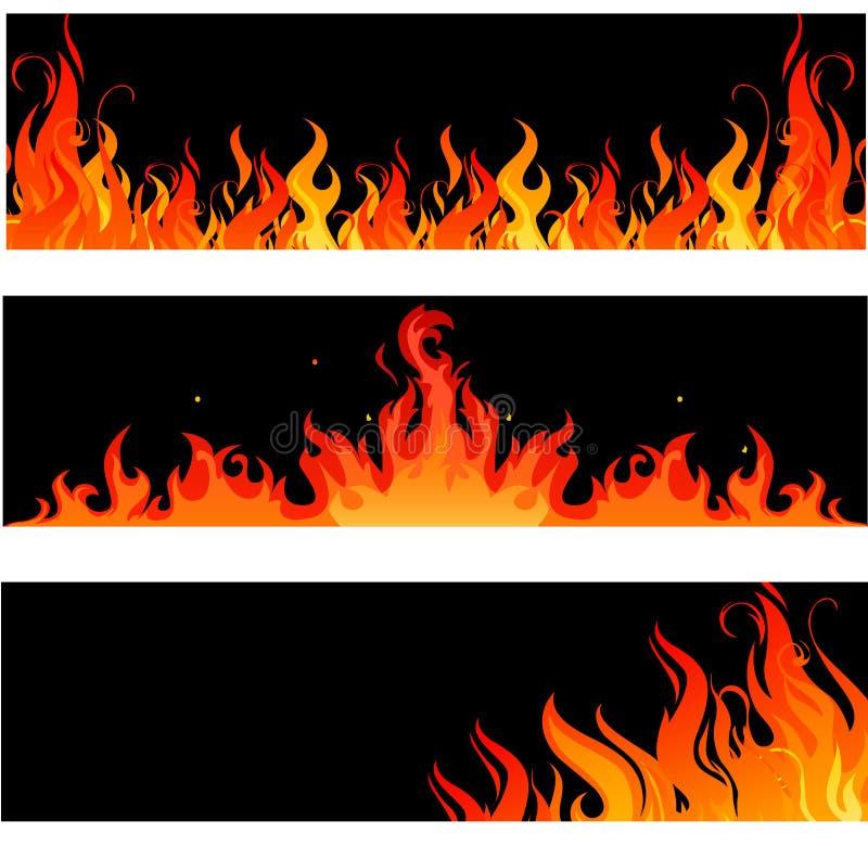 Ogień płonie palenie na czerni ilustracja wektor