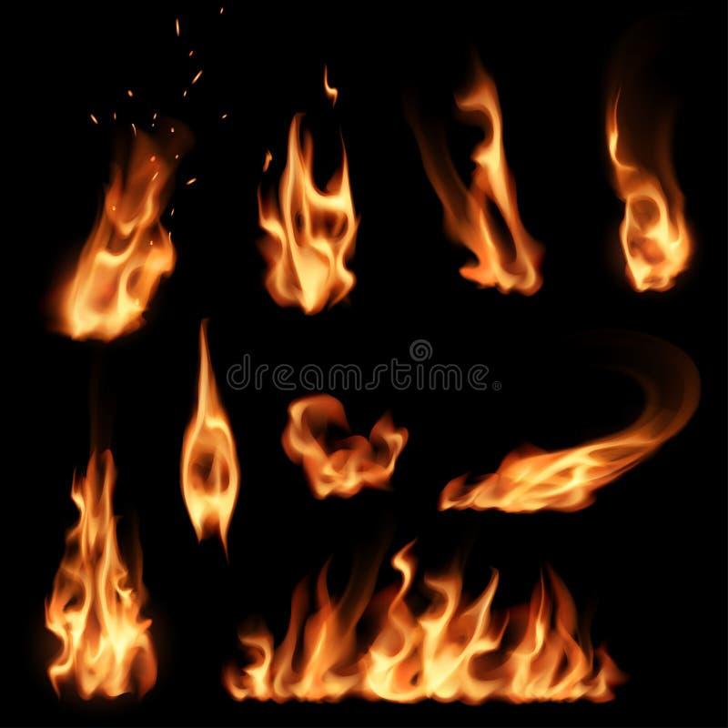 ogień płonie set ilustracji