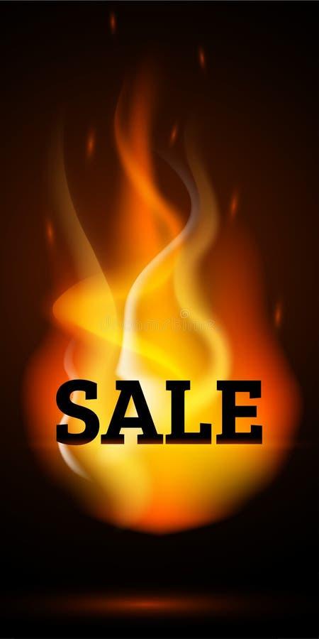 Ogień płonie sprzedaż sztandar pionowo ilustracja wektor