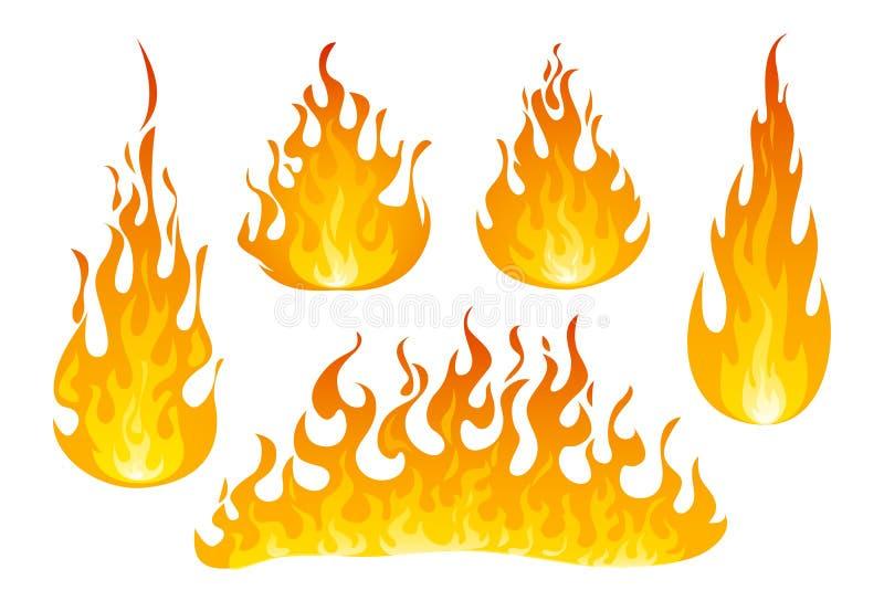 Ogień płonie wektoru set ilustracji