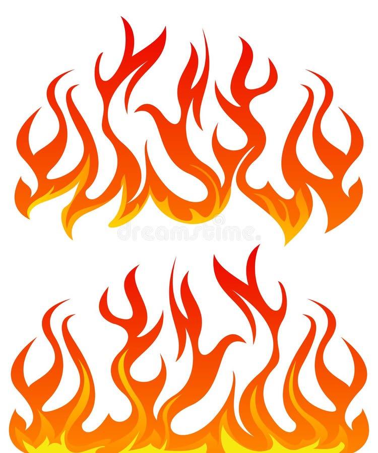 Ogień płonie wektoru set ilustracja wektor