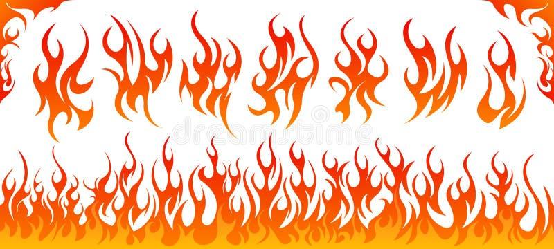 Ogień płonie wektoru set royalty ilustracja