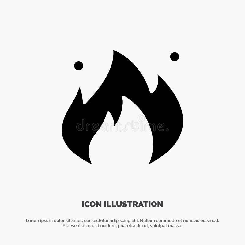 Ogień, przemysł, olej, budowa glifu ikony stały wektor ilustracja wektor