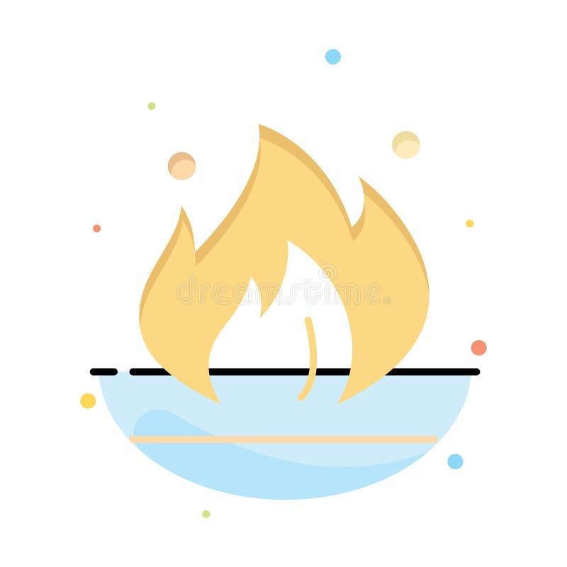 Ogień, przemysł, olej, budowa koloru ikony Abstrakcjonistyczny Płaski szablon ilustracji
