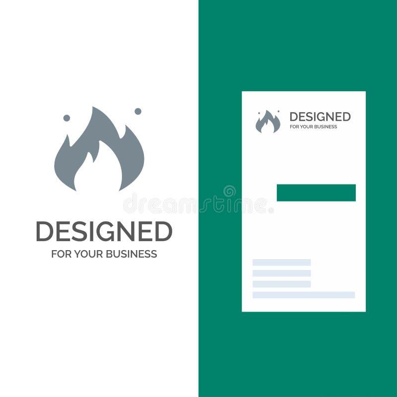 Ogień, przemysł, olej, budowa logo Popielaty projekt i wizytówka szablon, royalty ilustracja