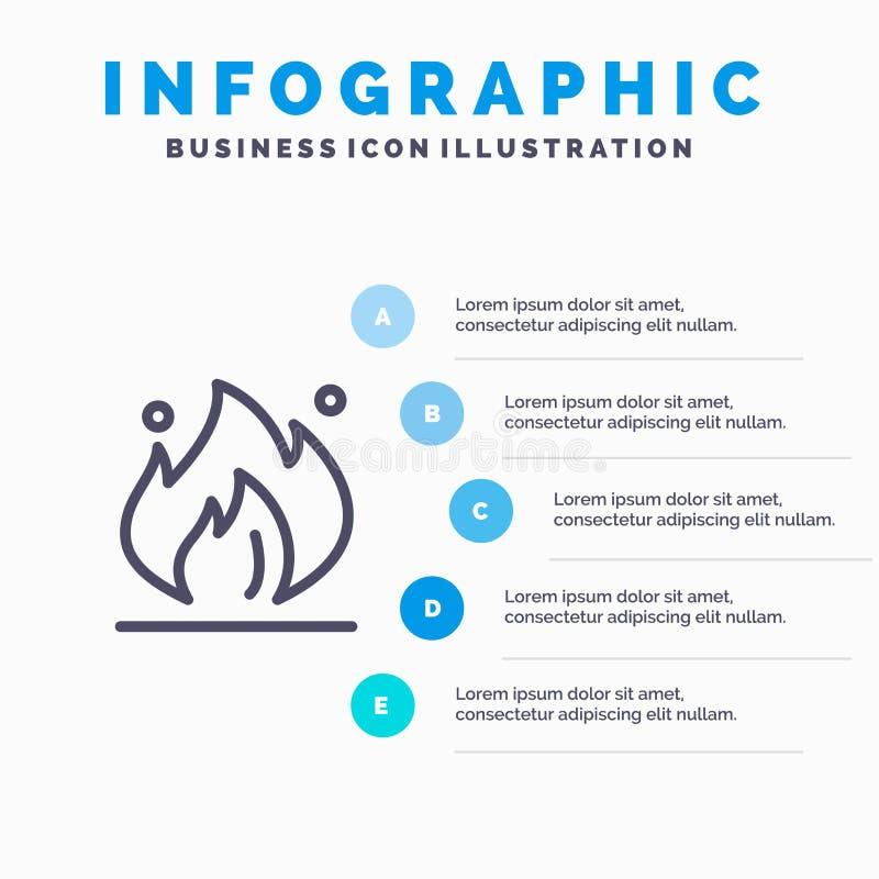 Ogień, przemysł, olej, budowy Kreskowa ikona z 5 kroków prezentacji infographics tłem ilustracja wektor