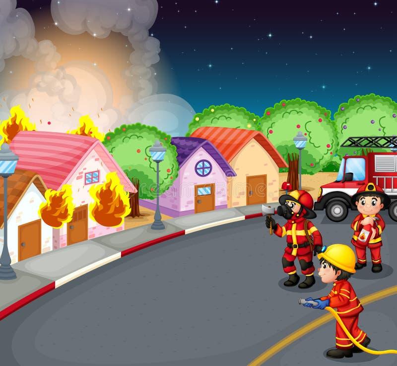 Ogień przy wioską ilustracja wektor