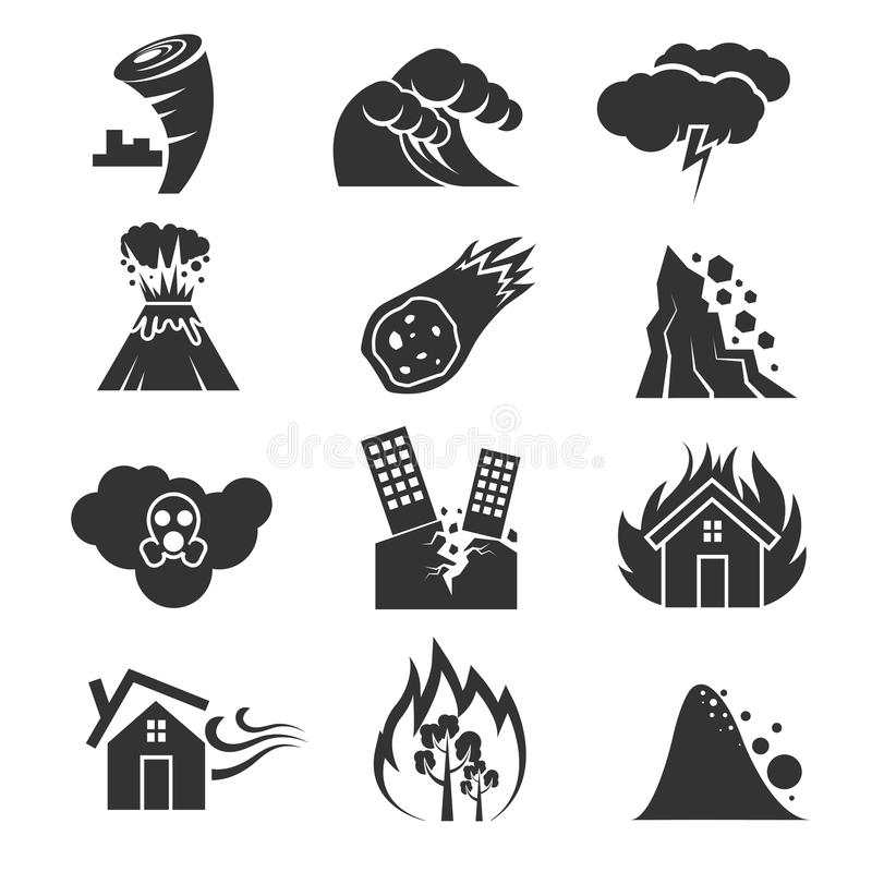 Ogień, tsunami, śnieg, burza, grzmot, tornado, huragan, trzęsienie ziemi katastrofy wektoru ikony ilustracji