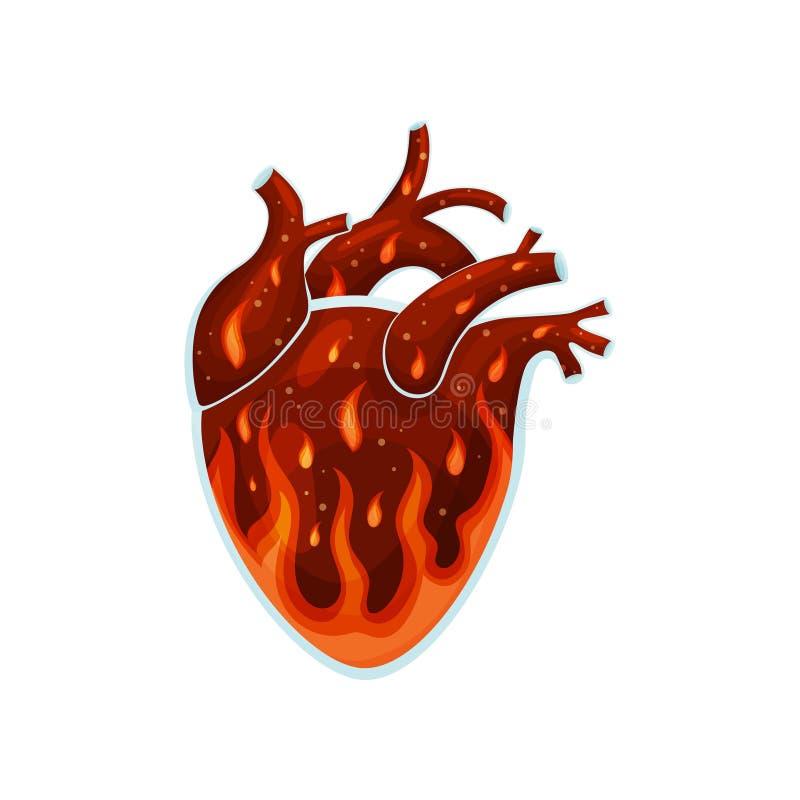 Ogień wśrodku serca t?a ilustracyjny rekinu wektoru biel ilustracja wektor
