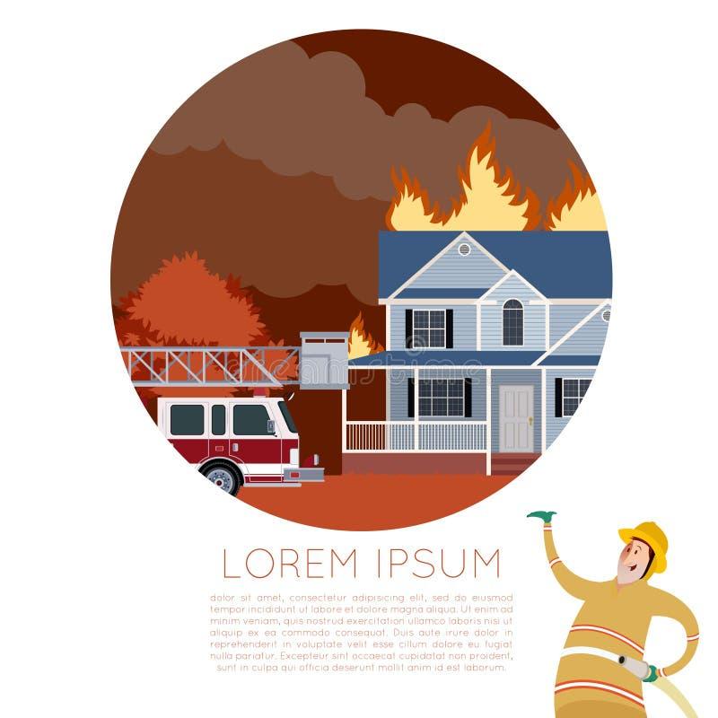 Ogień w domowym sztandarze royalty ilustracja