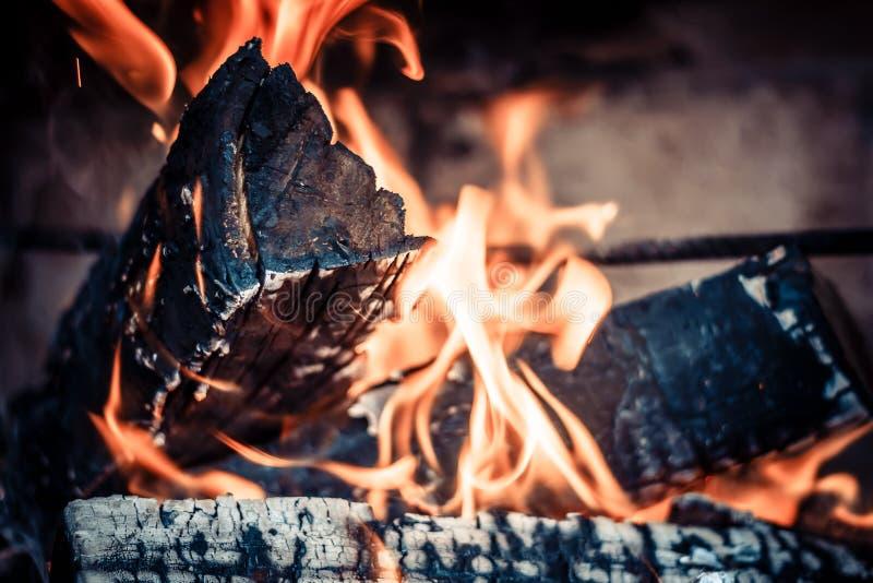 Ogień w hearth obraz royalty free