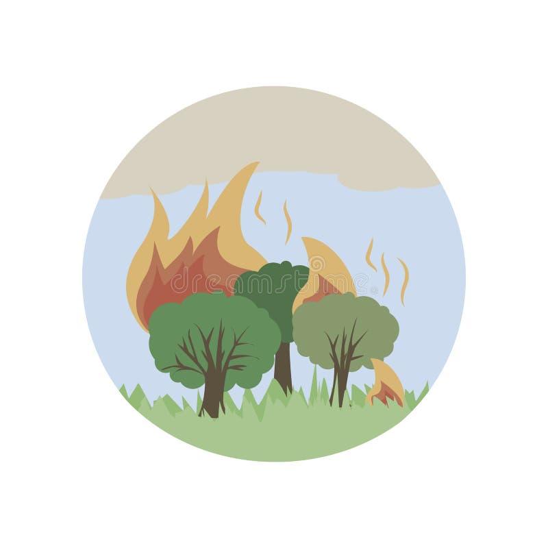 ogień w lasowej kolor ikonie Element globalnego nagrzania ilustracja Premii ilości graficznego projekta ikona Znaki i symbolu col royalty ilustracja