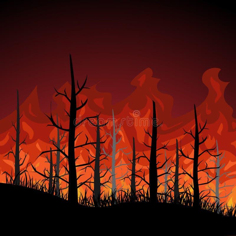 Ogień w lasowym wektorowym projekcie P?aska ilustracja ilustracji
