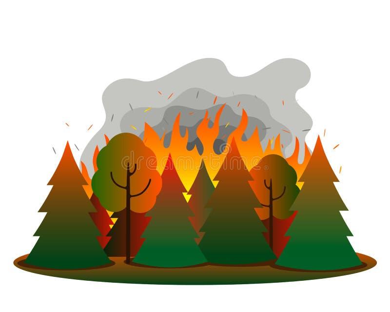 Ogień w mieszanym lesie iglastym Tongues płomienia i dymu na tle drzew i drzew ogniowych ilustracja wektor