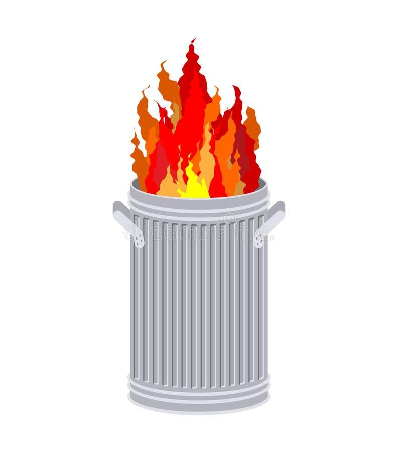 Ogień W pojemnik na śmiecie Kubeł na śmieci oparzenie ilustracji
