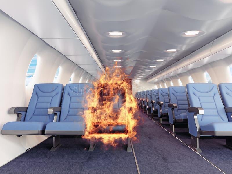 Ogień w samolocie ilustracja wektor