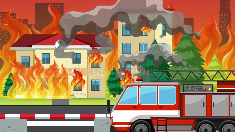 Ogień w villlage royalty ilustracja
