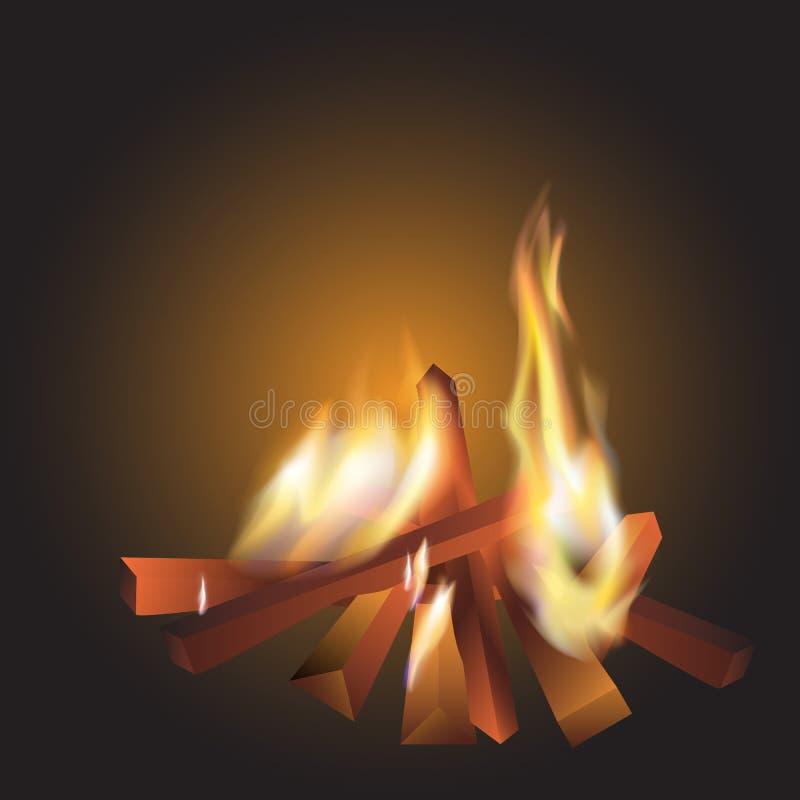 Ogień w zmroku Drewno w grabie jest jaskrawy realistyczny ilustracji
