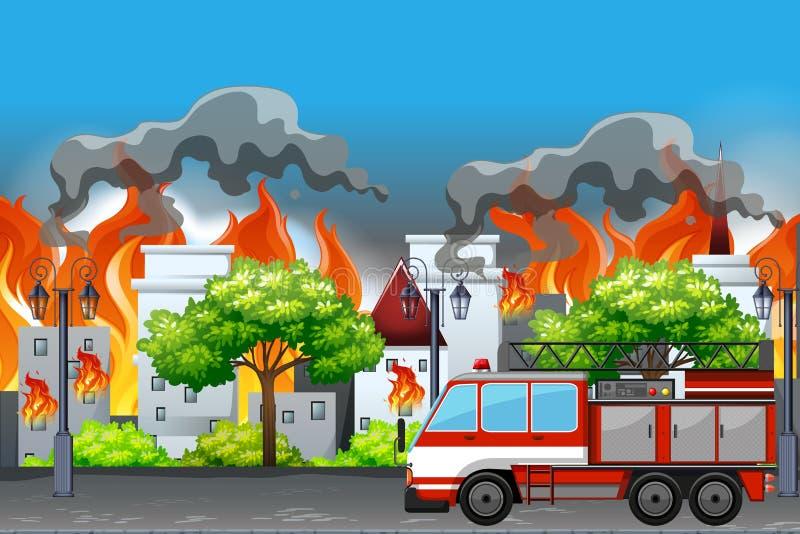 Ogień wewnątrz przy grodzkim mieszkaniem royalty ilustracja