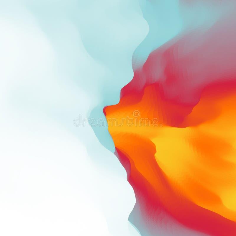 Ogień Z dymem abstrakcyjny tło Nowożytny wzór projekta świeża ilustracyjna naturalna wektoru woda twój royalty ilustracja