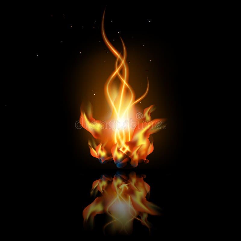 Ogień z odbiciem ilustracji