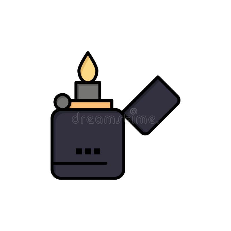 Ogień, zapalniczka, dymienie, Zippo koloru Płaska ikona Wektorowy ikona sztandaru szablon ilustracji