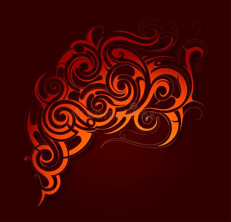 Ogieni płomieni ornament royalty ilustracja