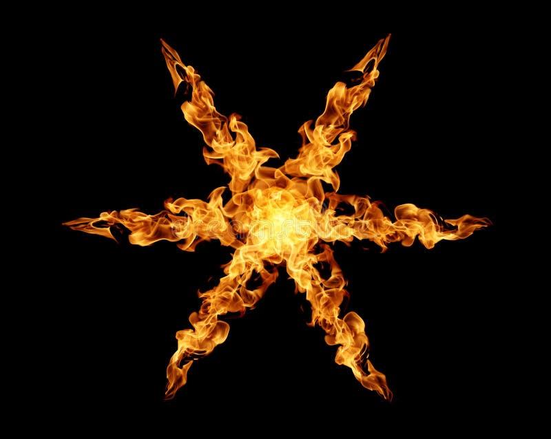 Ogieni płomieni punkt gwiazda na czarnym tle royalty ilustracja