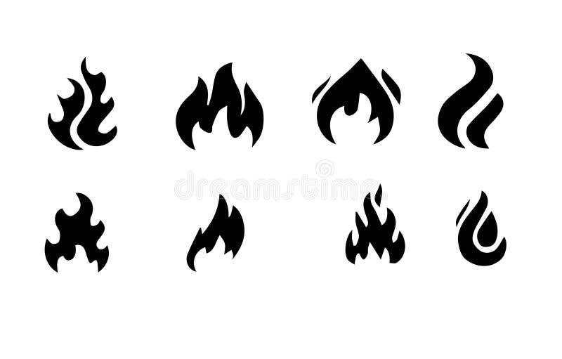 Ogieni płomienie, ustawiają wektorowe ikony ilustracji