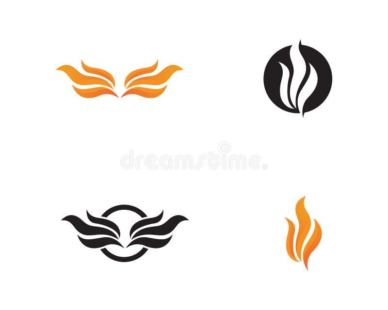 Ogienia i skrzydeł logo gorący wektory ilustracji