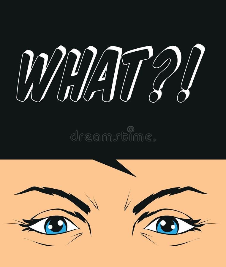 Ogillande dilemma, cynisk kritisk ögonillustration royaltyfri illustrationer