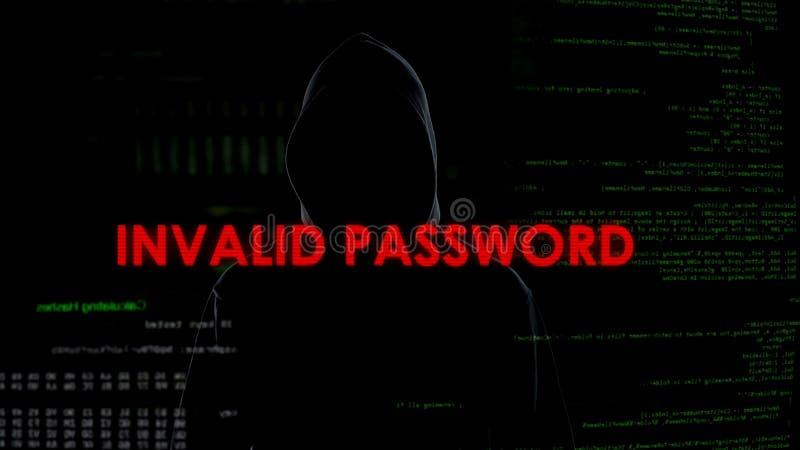 Ogiltigt lösenord, mislyckat försök att knäcka systemet, cyberbrott som hackar royaltyfria bilder