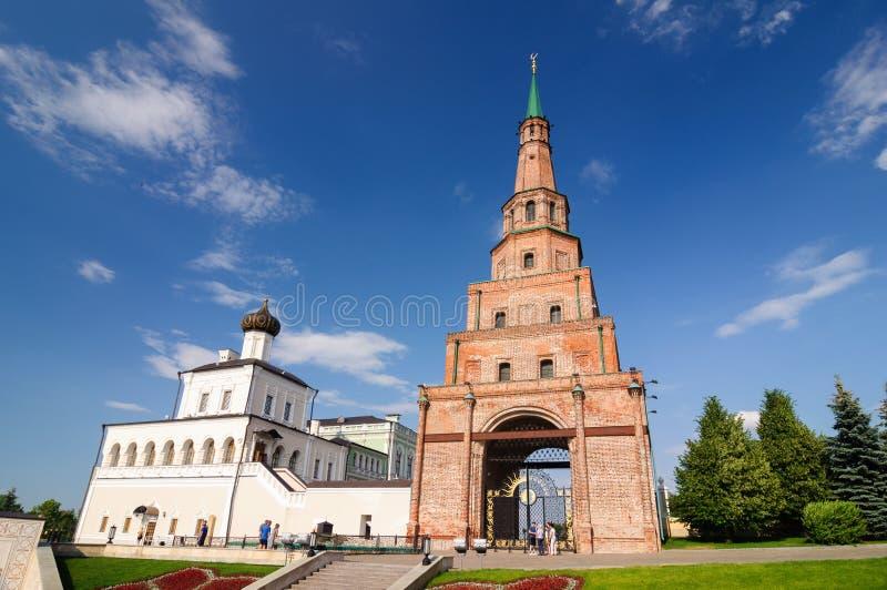 Ogląda basztowego Syuyumbike Kazan Kremlin, Tatarstan republika zdjęcia royalty free