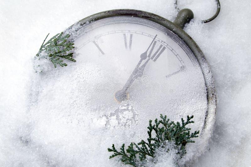 Ogląda lying on the beach w śniegu przed nowym rokiem obrazy stock