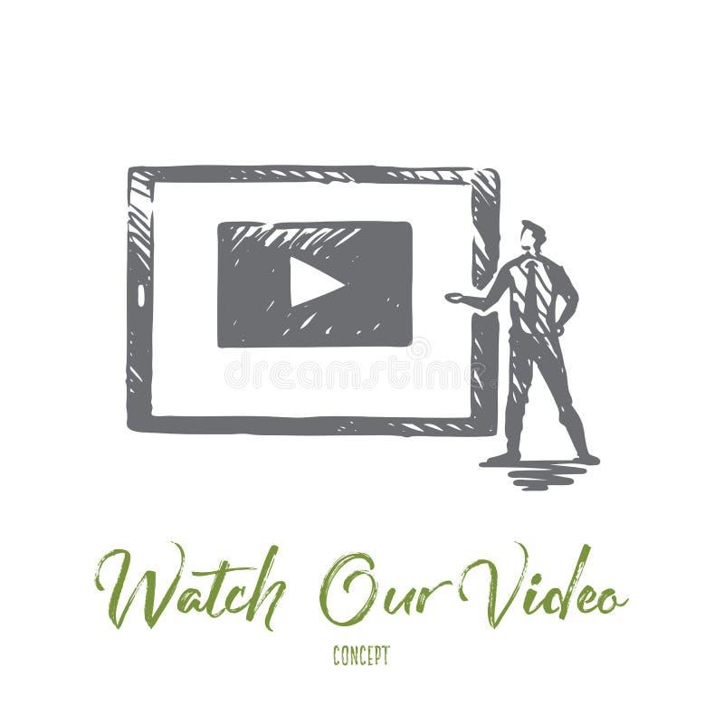 Ogląda nasz wideo, internet, sztuka, środki, sieci pojęcie Ręka rysujący odosobniony wektor ilustracji