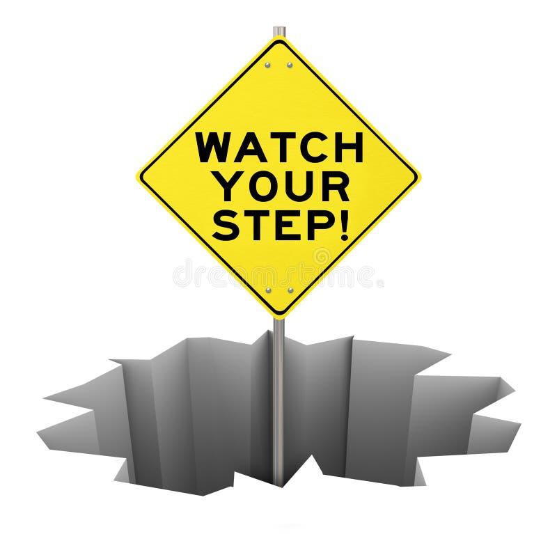 Ogląda Twój kroka znaka ostrzegawczego dziury niebezpieczeństwa ryzyka uśmierzanie royalty ilustracja