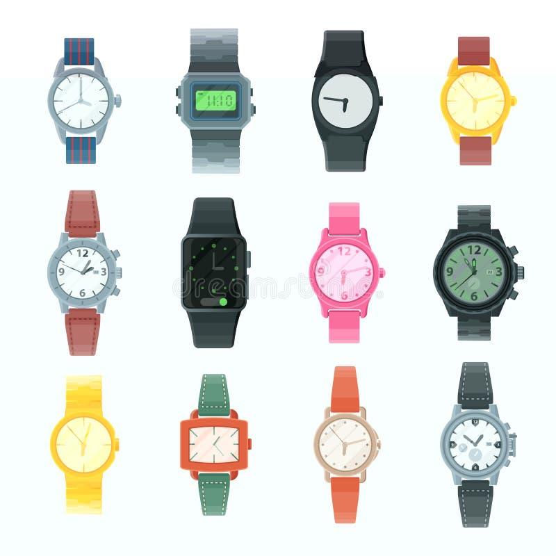 Ogląda wektorowego biznesowego wristwatch lub fasonuje nadgarstku zegar z clockwork i clockface osiągającego w czasie z godziną l ilustracji