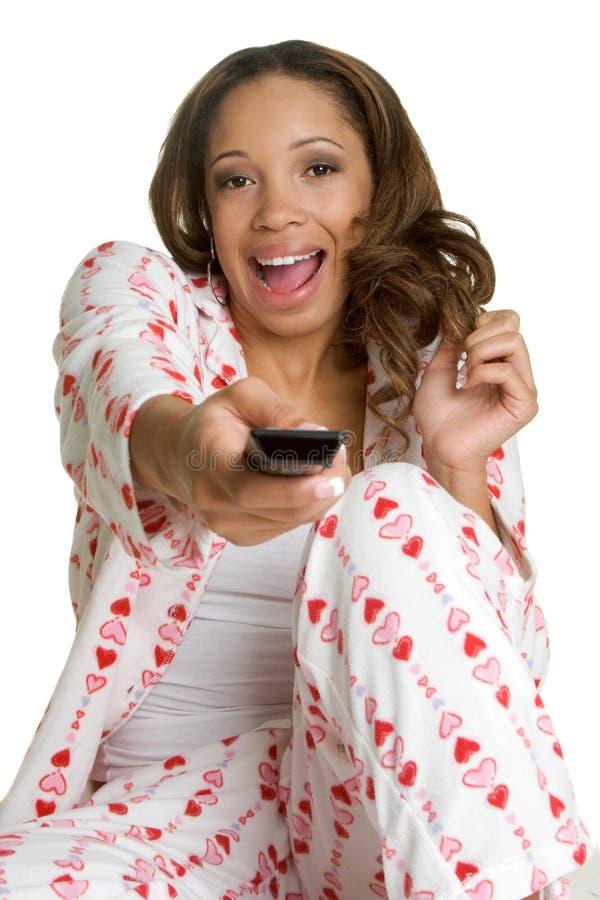 oglądanie tv kobieta zdjęcie stock