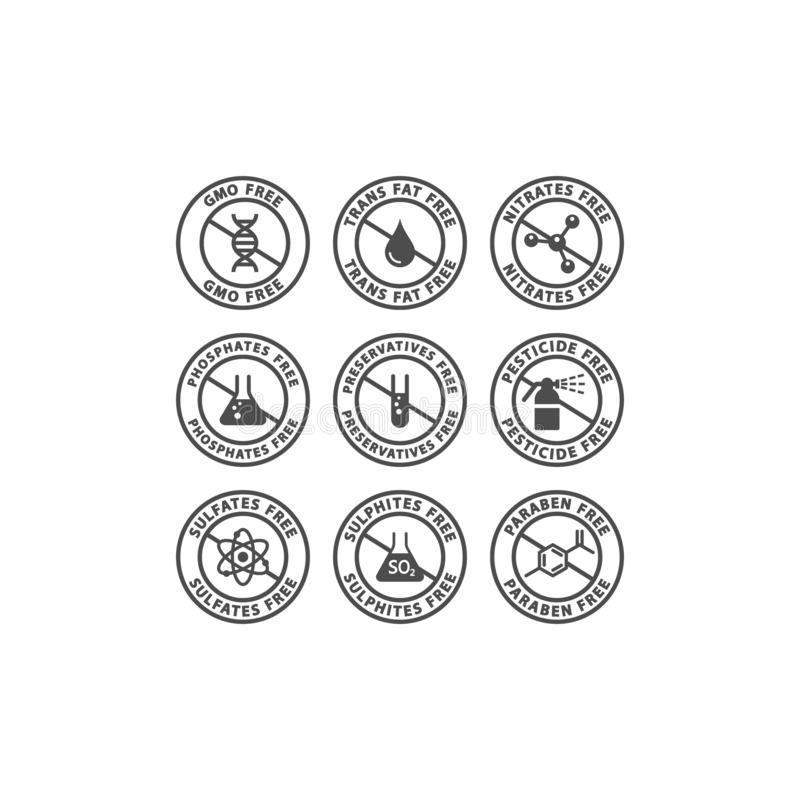 OGM, agents de conservation, label non gras d'insigne de vecteur de transport Nitrates, sulfates, timbre libre de cercle de pesti illustration de vecteur