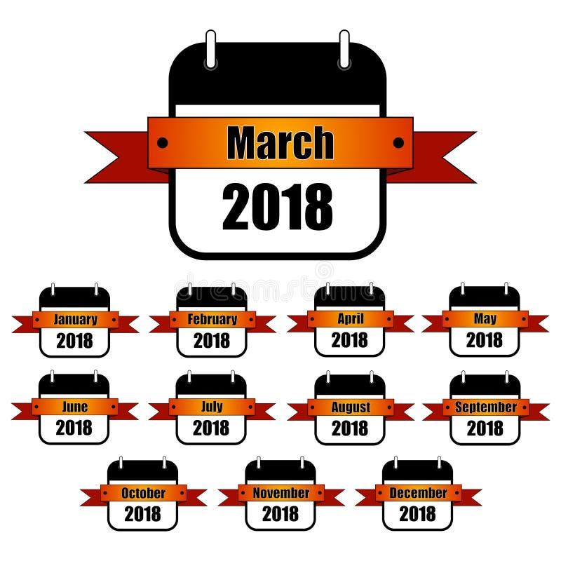Ogni mese delle icone di anno 2018 Nastro arancio di pendenza, calendario in bianco e nero royalty illustrazione gratis